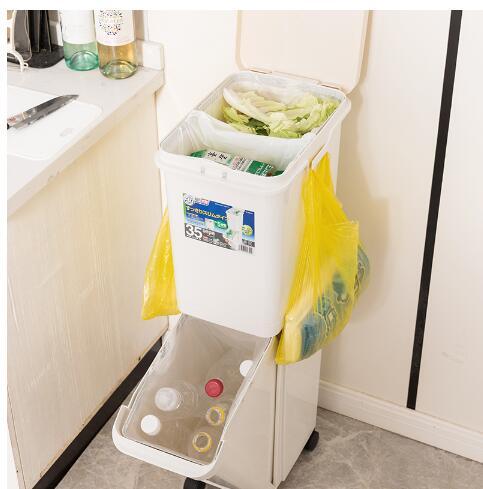 TONBO日本双层分类垃圾桶   干湿分离垃圾桶  带轮  大号 35L