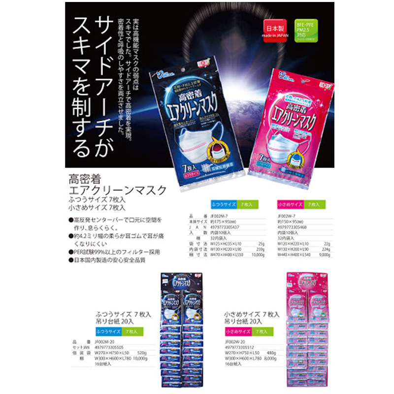 YOKAI日本高密度三層構造不織布清洁口罩((男用)),7个装 20包,付台纸 (适合实体店销售)
