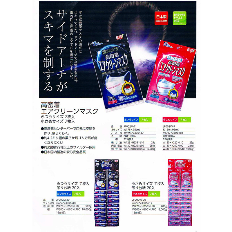 YOKAI日本高密度三層構造不織布清洁口罩(女用),7个装 20包,付台纸 (适合实体店销售)