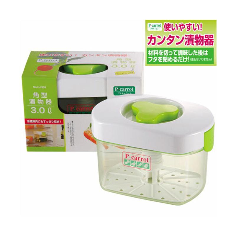 PEARL日本P CARROT 方型泡菜腌渍泡菜器3ℓ塑料腌菜盒