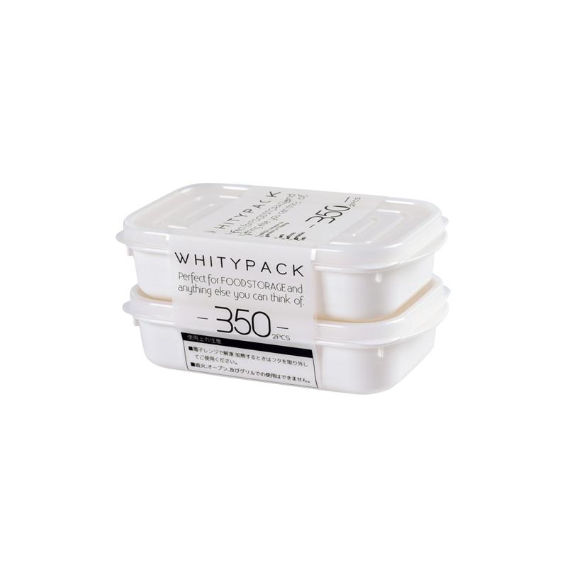 YAMADA日本冰箱保鲜盒 食物密封盒 水果收纳盒 小物储物盒 350ml 2枚入
