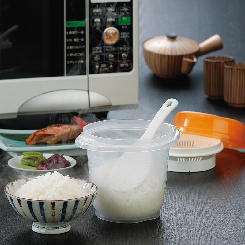 INOMATA日本淘米蒸饭一体锅微波炉蒸饭盒