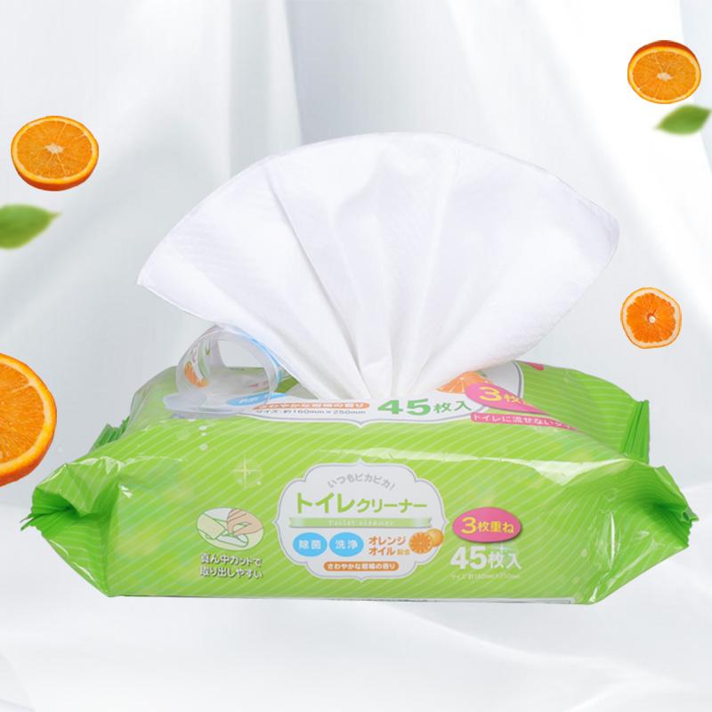 KYOWA日本进口马桶清洁纸巾 消毒洁厕湿纸巾 湿巾 45枚入马桶清洁巾