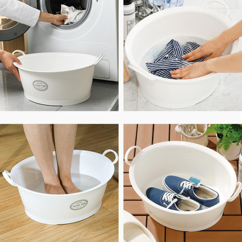 INOMATA日本家用婴儿洗脸盆洗衣盆清洗盆加厚塑料洗衣盆