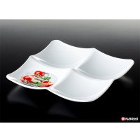 NAKAYA日本瓷器风格四格方盘餐盘白色(2012)