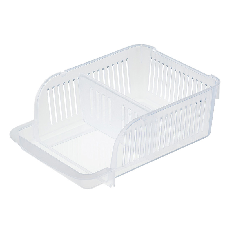 INOMATA日本冰箱收纳篮 桌面收纳筐 厨房储物篮 可叠加式 350ml  透明色
