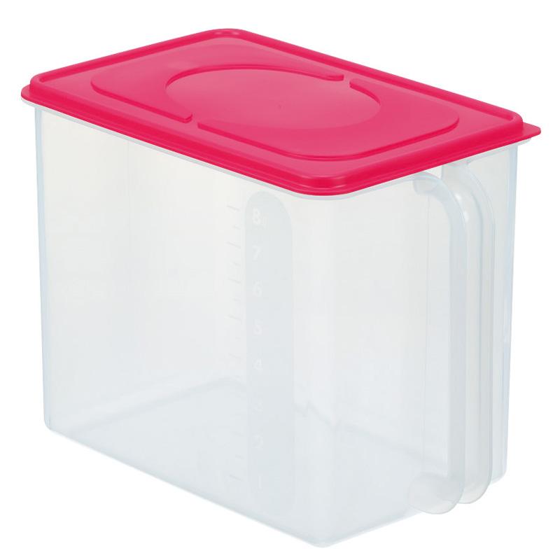 INOMATA日本米桶 米箱 置物收纳箱 带手柄收纳盒塑料收纳盒(红色 棕色  白色 已废盘0503)