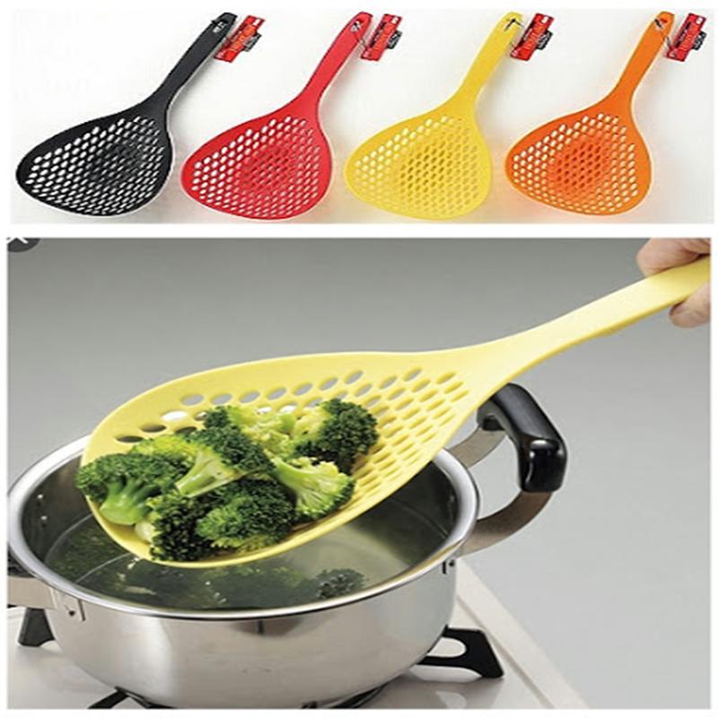 Artis 日本漏勺日本进口家用厨房尼龙饺子大号捞勺捞面长柄过滤勺