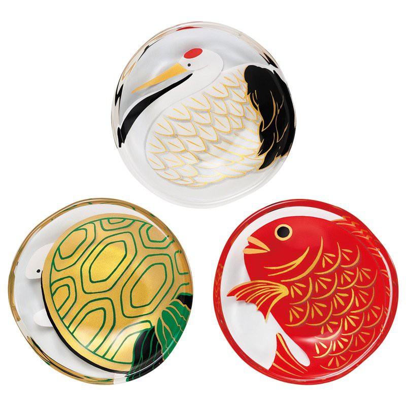 Aderia日本玻璃涂彩小蝶长寿鹤,龟鯛鱼套件