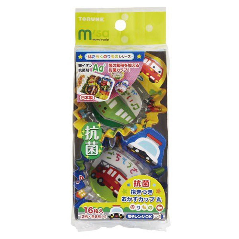 TORUNE日本抗菌可爱汽车类便当配菜杯 2个款式各8枚共16枚装