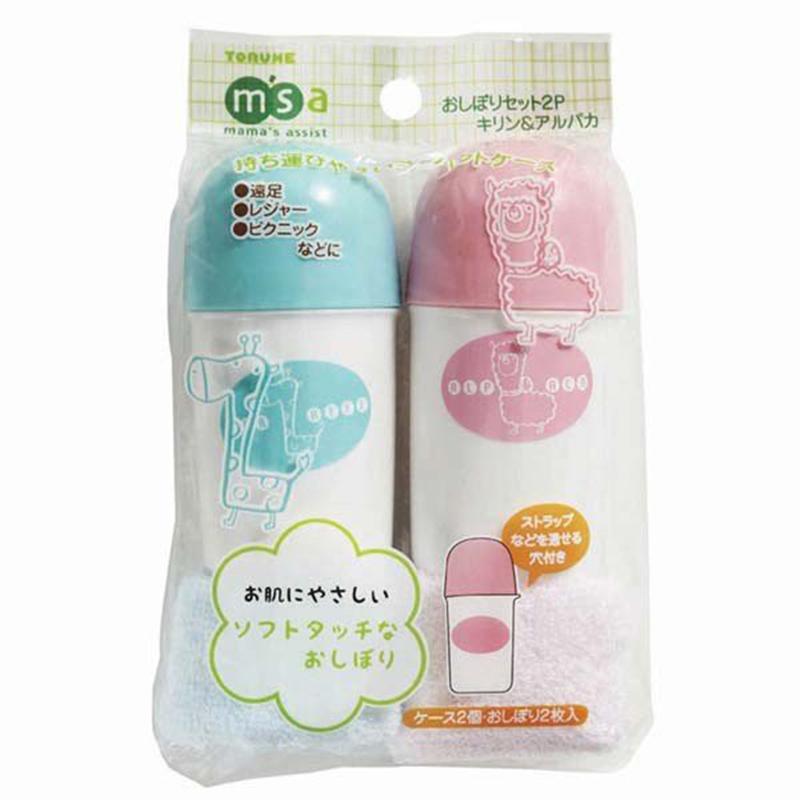 TORUNE日本粉蓝简单便携毛巾装 2筒,2毛巾