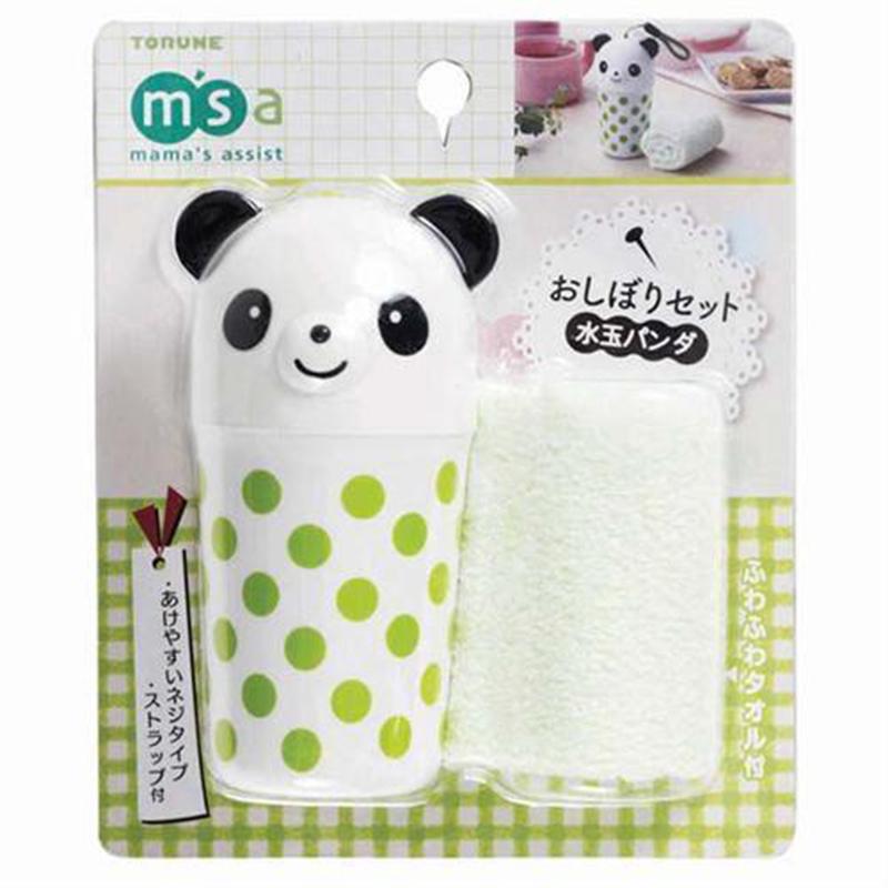 TORUNE日本熊猫绿点便携毛巾装 1筒1毛巾