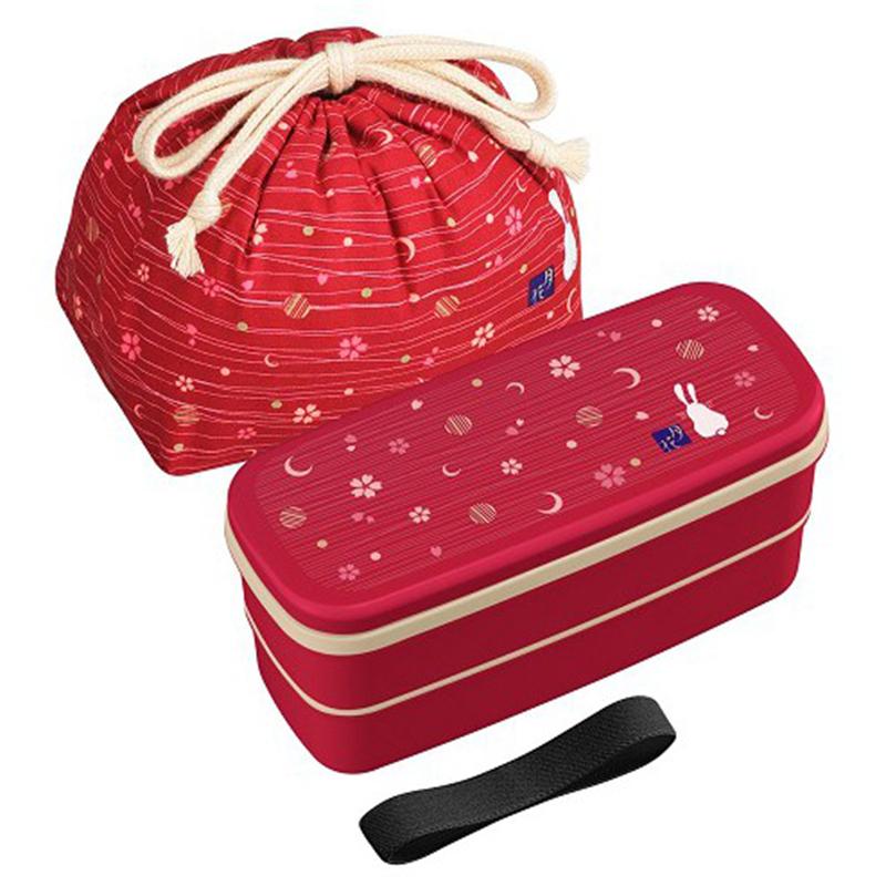 OSK日本日式和风 (月花系列)便当盒2层付带筷子,抽绳袋 便当保鲜盒