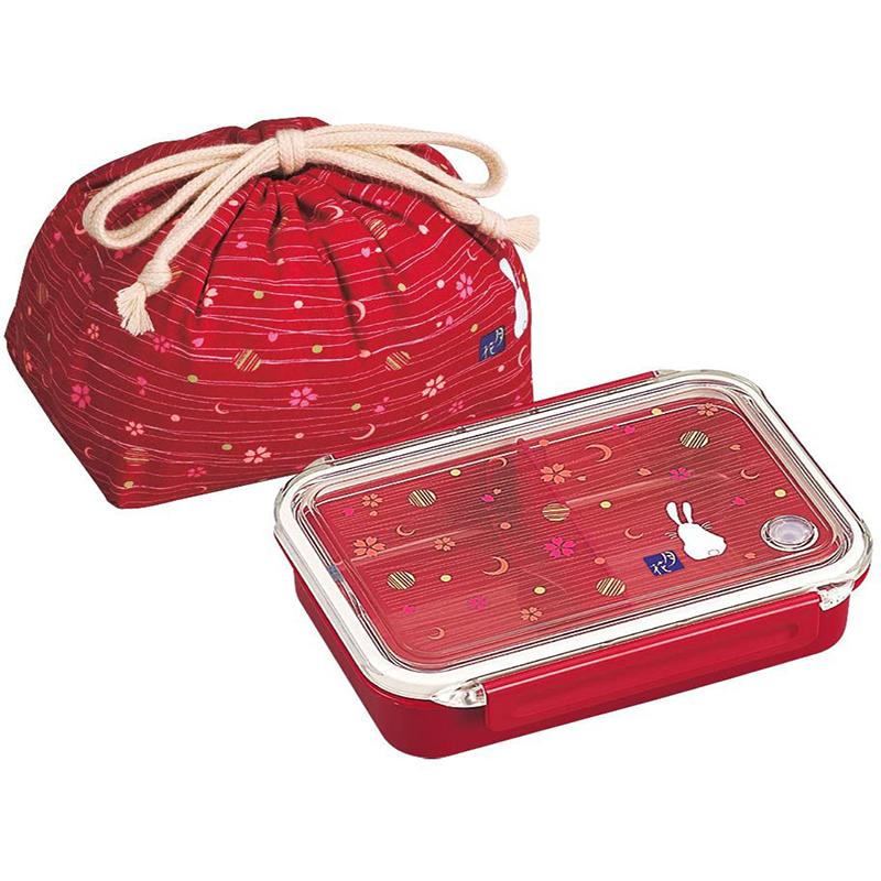 OSK日本日式和风 (月花系列)便当盒付带抽绳袋便当保鲜盒