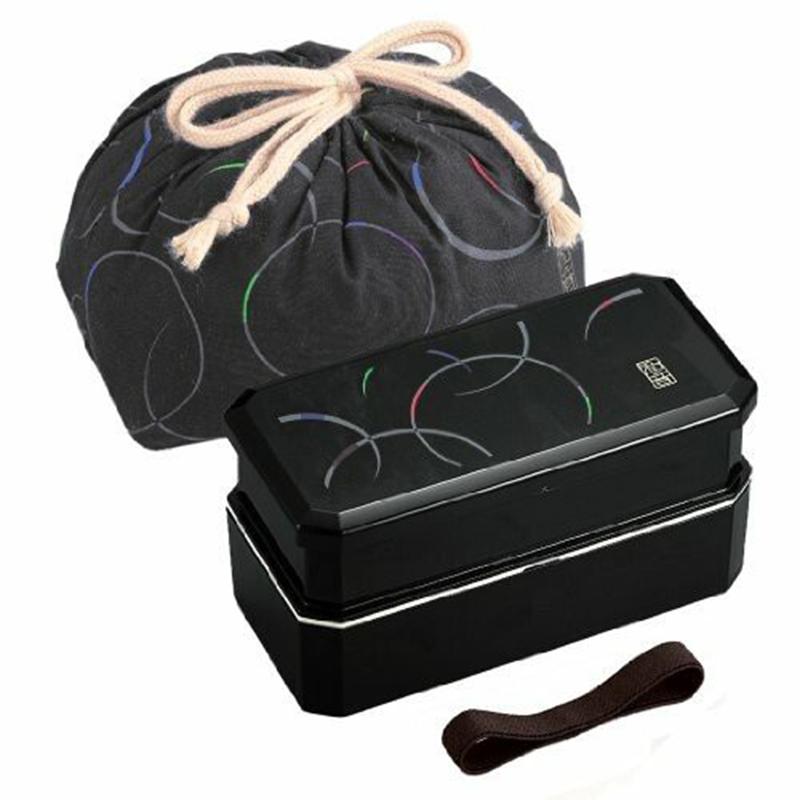 OSK日本日式和风 (和音系列)便当盒3层付带筷子,抽绳袋