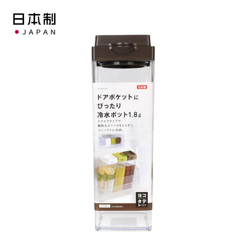 PEARL日本适合冰箱门口袋的冷水壶1.8ℓ(棕色) 可横,直两放