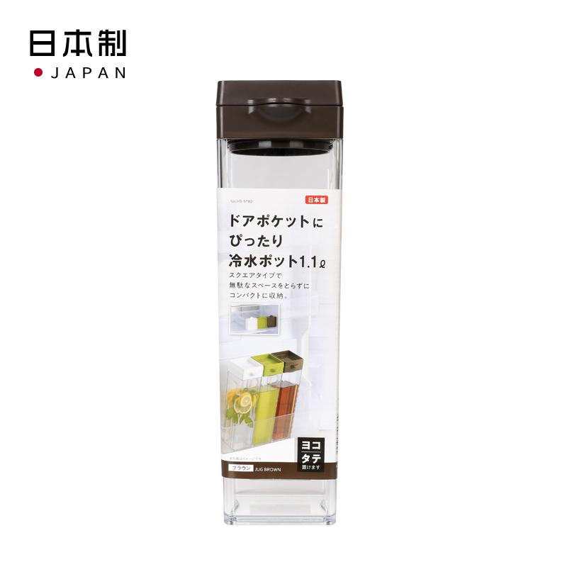 PEARL日本适合冰箱门口袋的冷水壶1.1 pot(棕色) 可横,直两放