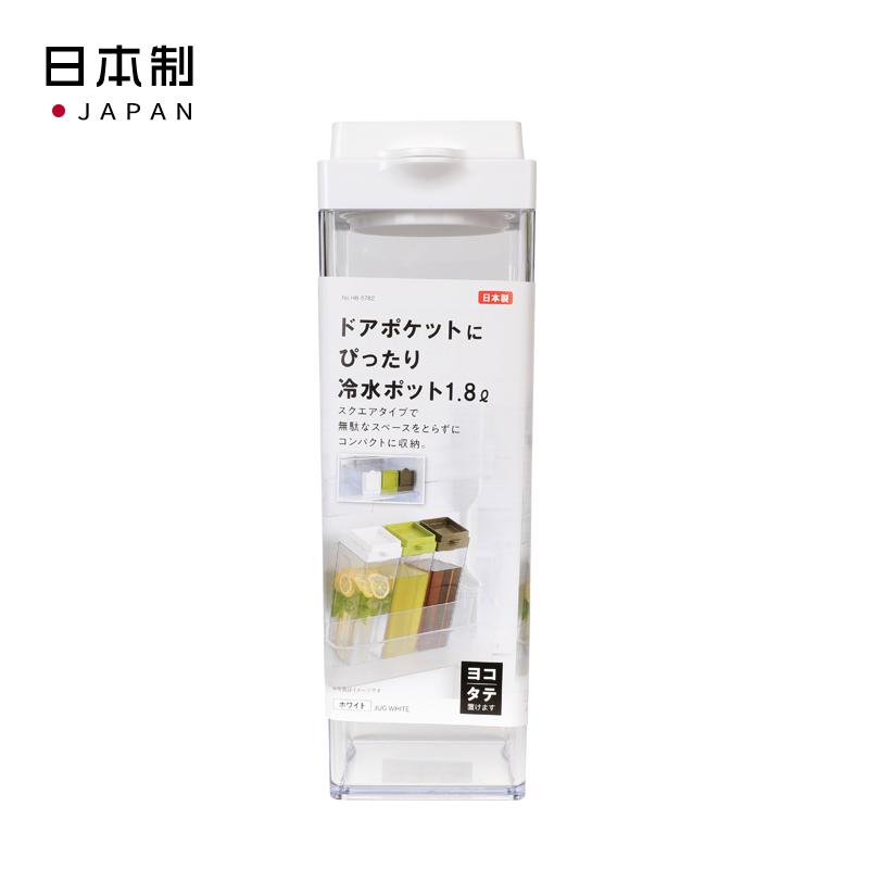 PEARL日本适合冰箱门口袋的冷水壶1.8ℓ(白色) 可横,直两放
