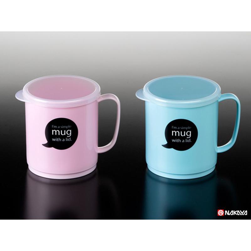 NAKAYA日本带杯盖的经典塑料杯 嫩粉,蓝 混色300ML