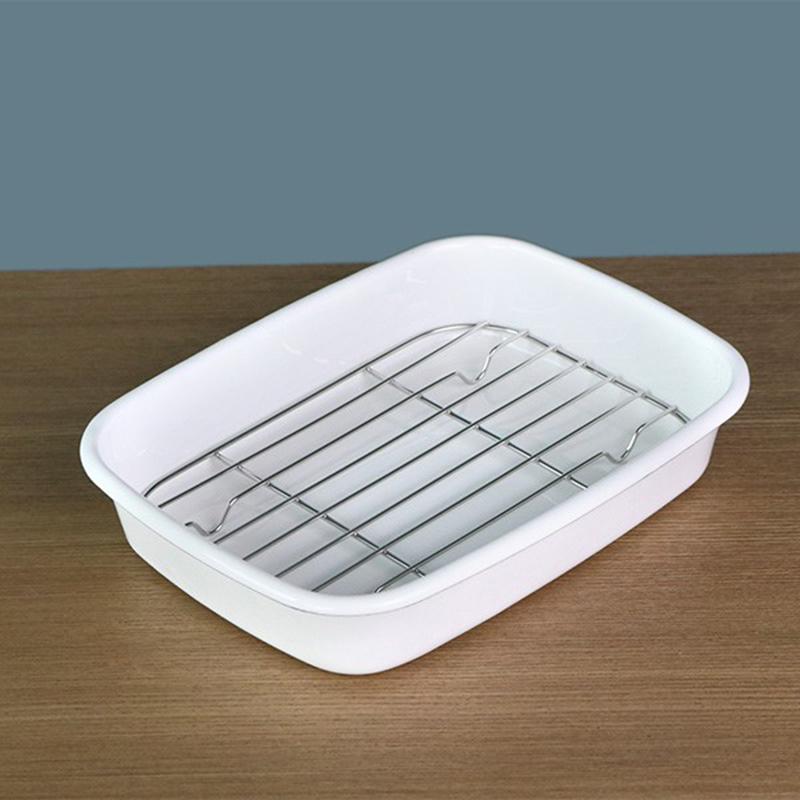PEARL日本時尚潔白琺琅瀝網料理儲物盤 1.2L禮盒裝