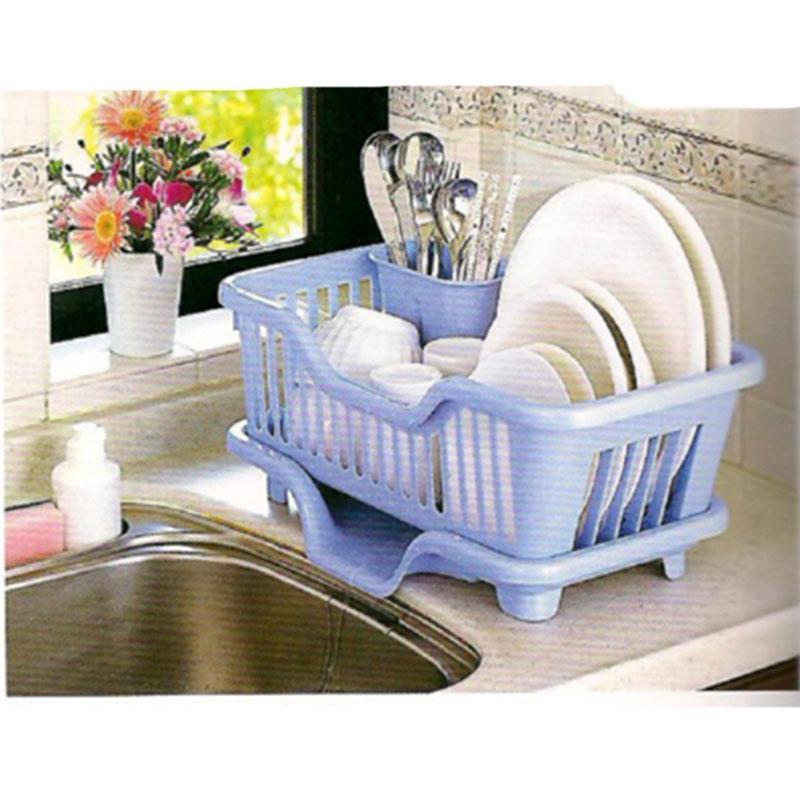 SANKO日本大号食器沥水篮 宽边导水 附立筷盒(蓝色)塑料沥水碗架