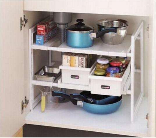 ✪PEARL KINZOKU 日本进口厨房伸缩收纳架 多功能整理架 三层落地置物架