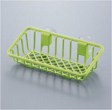✪sanada日本进口厨房海绵收纳架 带吸盘  绿色吸壁置物架