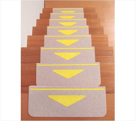 SANKO-GP日本防滑楼梯垫 三角 米色 15枚入