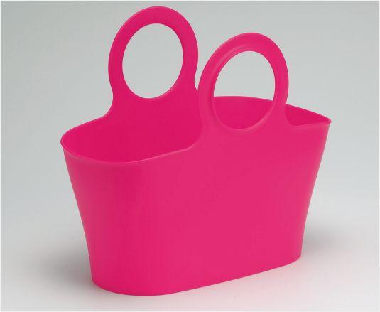 INOMATA日本手提篮  水果篮 收纳筐 整理筐手提塑料收纳篮(玫红色已废色0303)