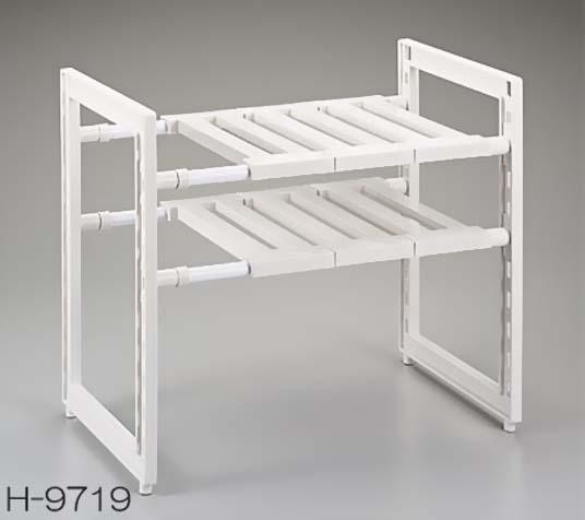 ✪PEARL 日本可伸缩收纳架 落地置物架 厨房微波炉架子 白色