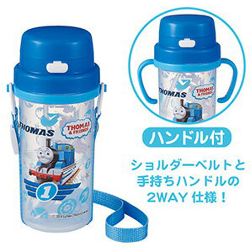 THOMAS(托马斯火车)正规授权日本儿童水壶 (带吸管,可换杯带和手柄两用)