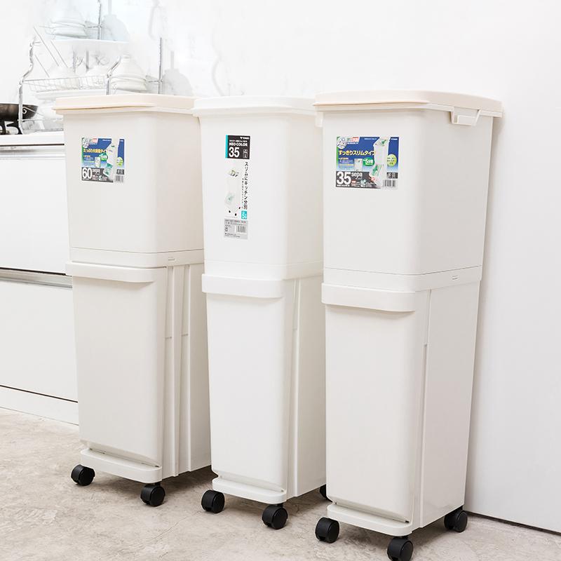 TONBO日本直立3段垃圾桶60L